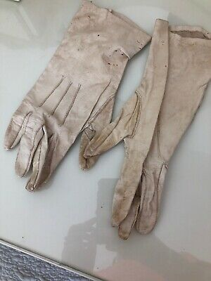 Ladies Vintage White Soft Leather Gloves