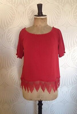 Laura Ashley Red Jersey Top Blouse, Size 14, Lace Trim, Stretchy, Smart