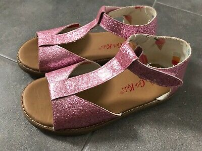 CATH KIDSTON Little Girls PINK GLITTER T Bar Sandals Size 2. Worn once only