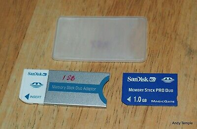 Sandisk 1GB Memory Stick Card Pro Duo PSP + Adapter