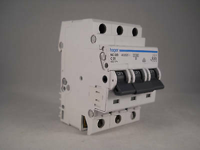 Hager MCB 20 Amp Triple Pole 3 Phase Circuit Breaker Type C 20A 463320 NC320