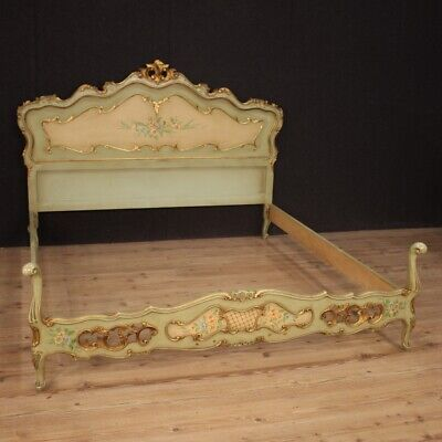 Double bed furniture venetian wood lacquered painting antique style camera