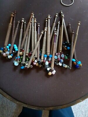 25 Lace Making Wooden Bobbin's Spangled