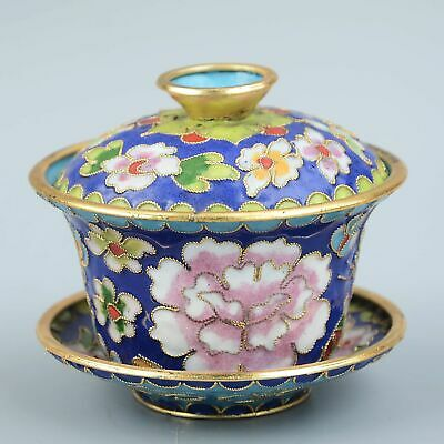 Collectable China Old Cloisonne Hand-Carved Bloomy Flower Ancient Times Tea Cup