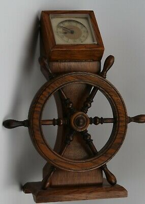 Vintage Tallent/Smiths Empire 30 hr oak desk clock.Ships wheel & binnacle.9.5 in