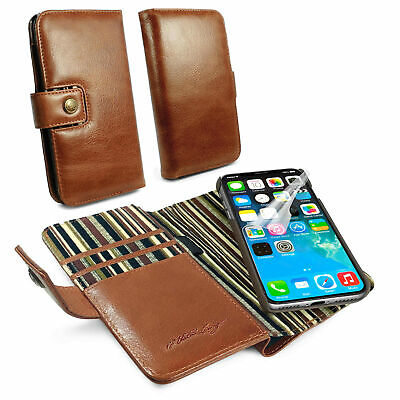 Alston Craig Genuine Leather Magnetic Wallet Case for iPhone XR-Brown
