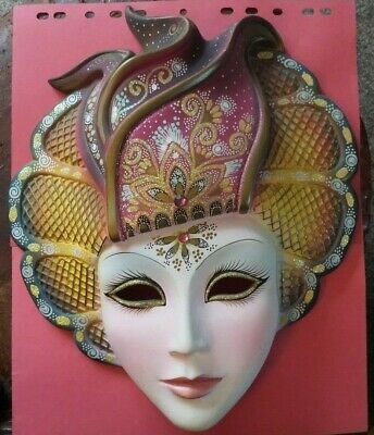 Hand Painted Venetian Wall Mask Signed