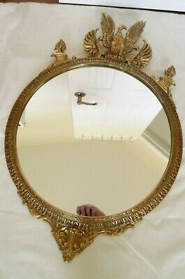 """Vintage Solid Brass Federal EAGLE Mirror~Ornate Frame ~28"""" Tall  HEAVY"""