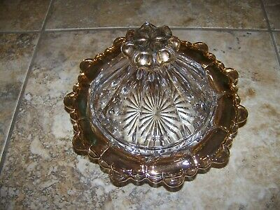 Vintage Gold Flash Glassware ~ Covered Candy Dish ~ Very Beautiful