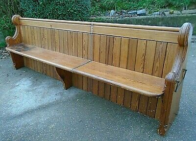 Large 9' Antique Pitch Pine Victorian Church Pew Settle Bench Table Seating Seat