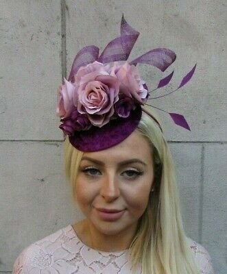Plum Purple Blush Light Pink Flower Feather Pillbox Hat Fascinator Grape 7811