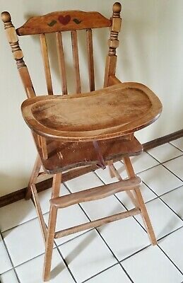 Vintage Distinctive Foldaway Furniture Wood Baby High Chair