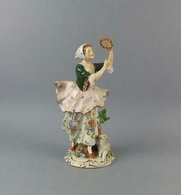 Antique German Porcelain figurine of a Young Lady with Tambourine by Sitzendorf