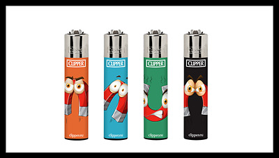 4 x Clipper Lighters MAGNET EYES Gas Lighter RARE Refillable SET NEW**