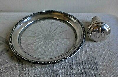 Vintage Frank Whiting Sterling Silver Cut Glass Wine Coaster Sterling Cork