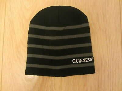 Guinness Knitted Ribbed Turn Up Beanie Hat With Embroidered Guinness Text And Si
