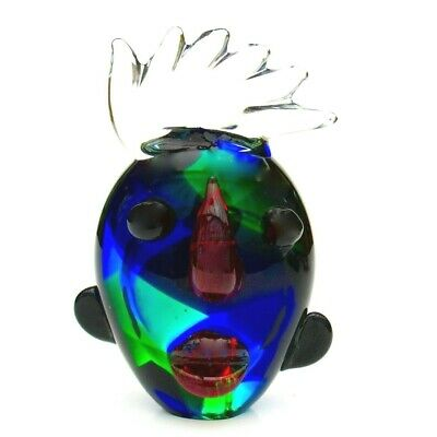 Unusual Murano Italian Art Glass Abstract Tribute To Picasso Face Sculpture