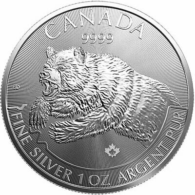 2019 Canada Grizzly Bear 1 oz Silver .9999 Fine Predator Coin Brilliant UNC+