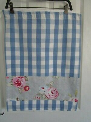 Hanging laundry bag blue gingham check floral fabric stripe
