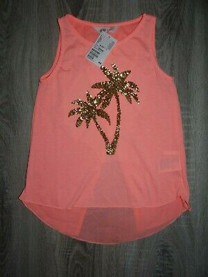 NEW Girls H&M summer set top/ PALM t-shirt with nice back/ outfit size 8-10years