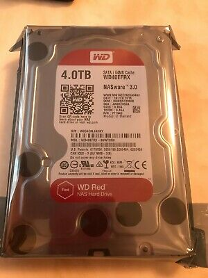 """WD WD40EFRX Red 4TB NAS 5400 RPM 3.5"""" NASware 3.0 Hard Drive ZERO POWER ON HOUR"""