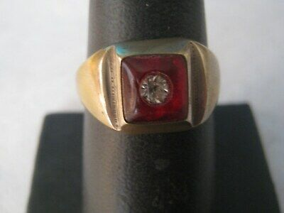 Art Deco Men's 14KF Created Red Stone Crystal Signet Style Ring SZ 10
