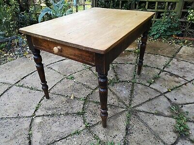 Antique Rustic Pine Scrub Top Kitchen/Dining Table with Drawer