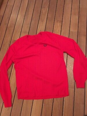 vintage 1970s Fred Perry Jumper Large Red Skinhead Mod