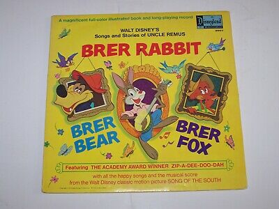 Vintage Walt Disney's BRER RABBIT Songs and Stories of Uncle Remus Record Album