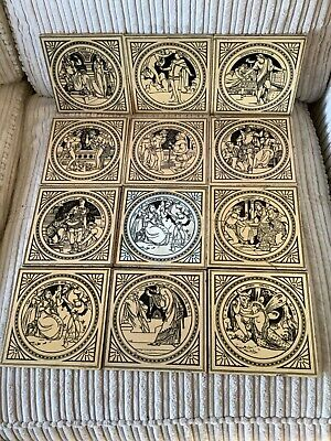Vintage / antique set : 12 Victorian tiles by  Minton. Tales from Shakespeare.