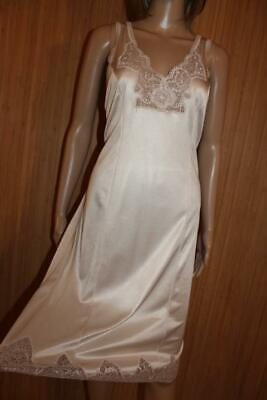 Vtg Charnos Nude/Gold Glossy Thicker Nylon & Lace Full Slip, Size 16