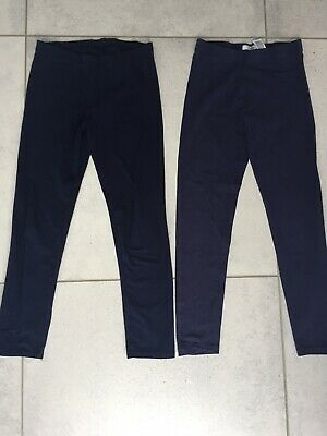 2 Pairs Of Navy Girls Kids Leggings M&S George Age 10-11-12 Great Condition