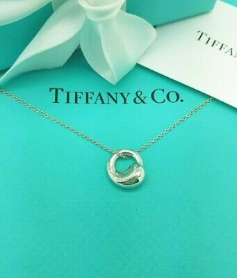 "Tiffany & Co Elsa Peretti Eternal Round Circle Pendant 16"" Silver Necklace"