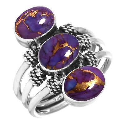 925 Sterling Silver Copper Purple Turquoise Handmade Ring Size K 1/2 cm12414