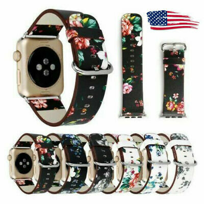For Apple Watch Series 5 4 3 2 1 Pattern Leather Band Strap iWatch 38 42 40 44mm