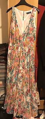 Tk Max White Floral Print Maxi dress BRAND NEW With Tags Size 12
