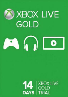 Xbox 360 1 One: Two 2 Weeks / 14 Days Xbox Live Gold Trial