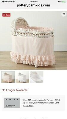 New Pottery Barn Kids Pink Sadie Ruffle Bassinet Bedding/$232 New