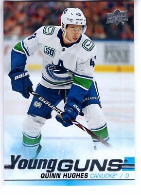 19/20 Upper Deck Series 1 QUINN HUGHES #249 Canucks YOUNG GUNS RC SP 2019-20