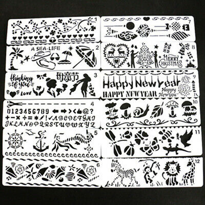 12 Piece Picture Drawing Template Stencils Rulers Painting Kids Children DIY Set