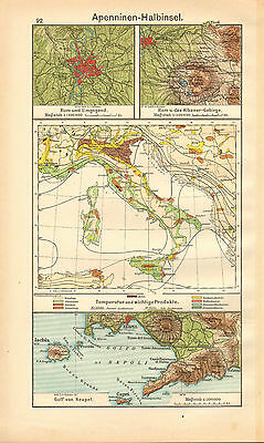 1908 Map ~ Italy ~ Temperature & Industries ~ Environs Rome ~ Naples