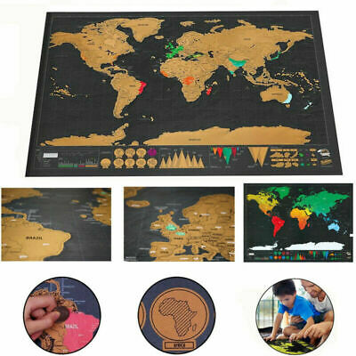 Deluxe Large Scratch Off World Map Poster Personalized Travel Parent-child Games