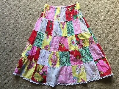 Girls Size 8 Fred Bare 100% Cotton Long Skirt Gorgeous Patchwork Print