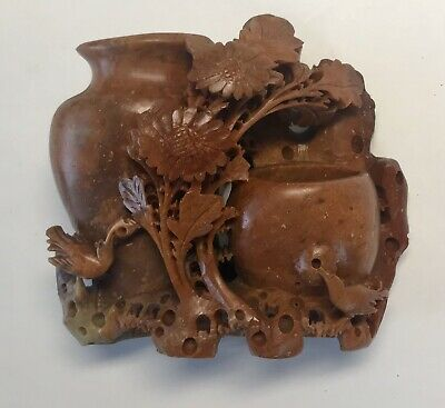 ANTIQUE Hand Carved Red Soapstone Chinese Republic Vase Floral Bird Sculpture