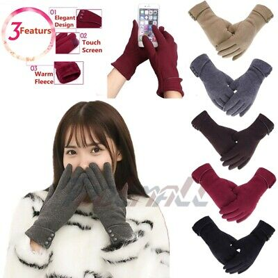 One Pair Warm Thick Soft Cashmere Touch Screen Fleece Gloves For Women Ladies US