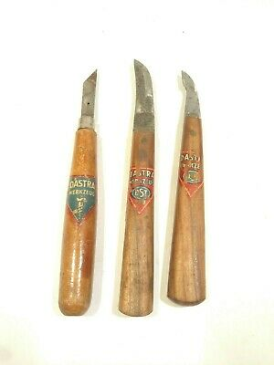 3 Vintage Dastra Germany Hand Wood CARVING KNIVES Woodworking NICE!