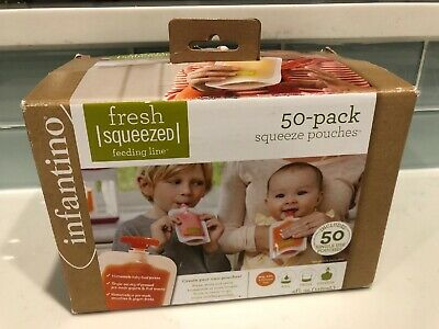 Infantino Squeeze Pouches Fresh Squeezed Feeding Line 50 Pack 4oz New