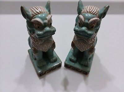 Old Chinese Porcelain Pottery Sancai Blue Glaze Foo Dog Foo Lion Statue Pair