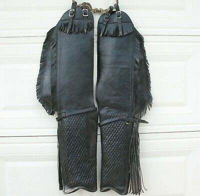 Leather Fringed embossed Western Chaps Cowboy Farrier motorcycle vintage buckles