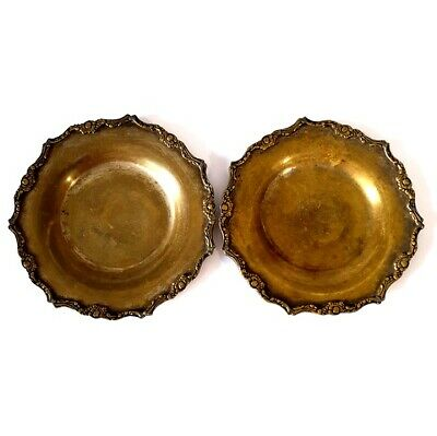 Lot 2 Antique Egyptian Brass Islamic Round Tray Ancient Egypt Plate 6.5 inches